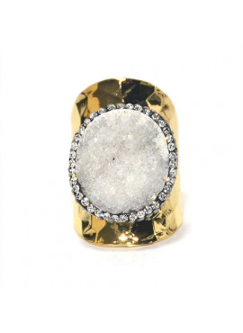 Bohemian ring gold off white agate stone