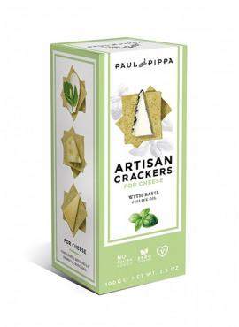 Artisanale crackers met basilicum en olijfolie 100g