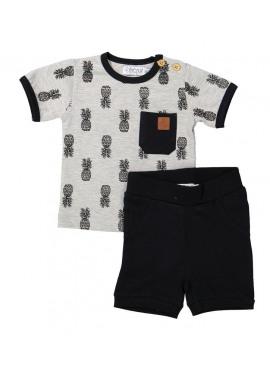 T-Shirt + Short Black/Dark Grey Melee