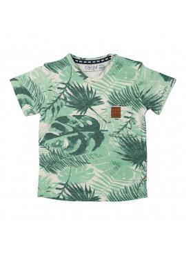 T-Shirt V-Neck Light Grey Melee/Green