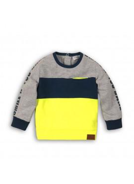35B-32763 Baby sweater geel/grijs/blauw