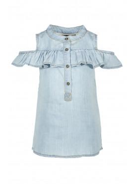 Denim ruffle blouse