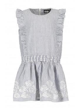 Seersucker anglaise ruffle dress