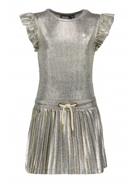 Metallic plisse dress