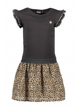 Jersey dress with animal panther skirt