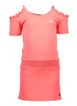 Slub jersey open shoulder dress