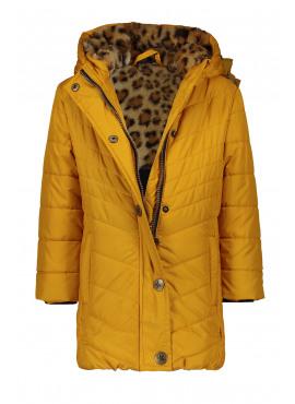 F908-5210-555 Flo girls long hooded jacket fancy quilting oker