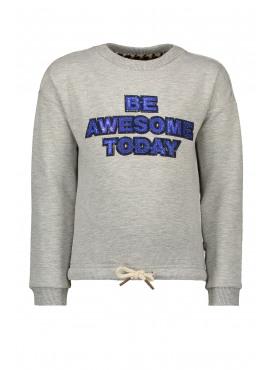 F908-5330-720 Flo girls sweater elastic hem + artwork grey melee