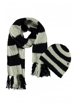 F908-5903-099 Flo girls knitted hat + scarf + floss black