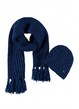 F908-5903-155 Flo girls knitted hat + scarf + floss cobalt