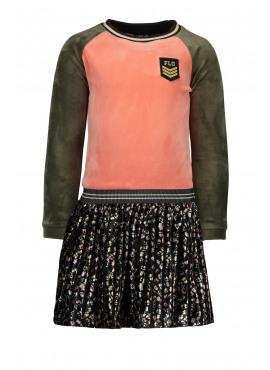 F909-5844-941 Flo girls velvet colourblock dress with flower plissé skirt