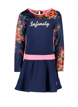 Y909-5872-146 Girls Dress With Printed Velours Sleeves