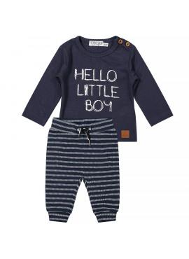 31B-32500  2 pce babysuit Hello little boy navy