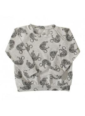P184346 blouse print panter grey melange