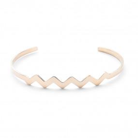 rigide armband in rosé edelstaal, zigzag