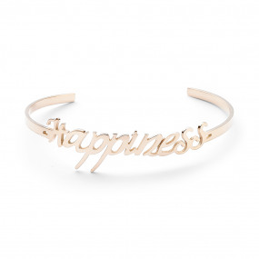 rigide armband in rosé edelstaal, happiness