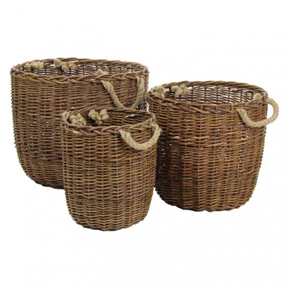Torrance set de 3 paniers avec poign e osier cord for Set de table en osier