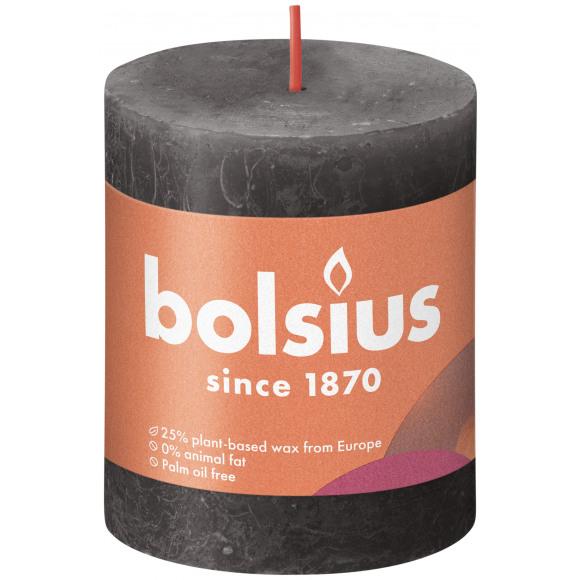 BOLSIUS Cilinderkaars Rustiek Stormy Grey Grijs H 80mm Ø 68mm 35u Zwart/Grijs