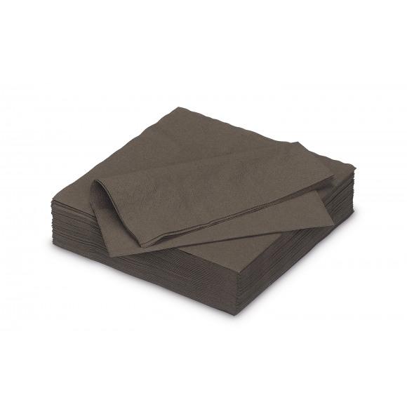 FIESTA Serviette Déjeuner Cacao Uni En Papier 33x33cm 50 Pièces Brun