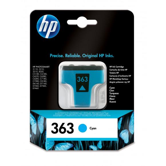 HP Cartouche 363 Cyan Bleu