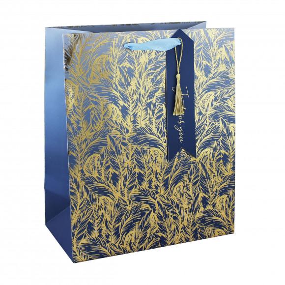 CLAIREFONTAINE Everyday Sachet Cadeau Bleu Plumes Dorées 26,5x14x33cm Bleu