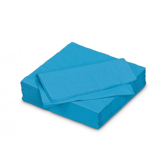 FIESTA Serviette Dîner Azur Uni En Papier 40x40cm 50 Pièces Bleu