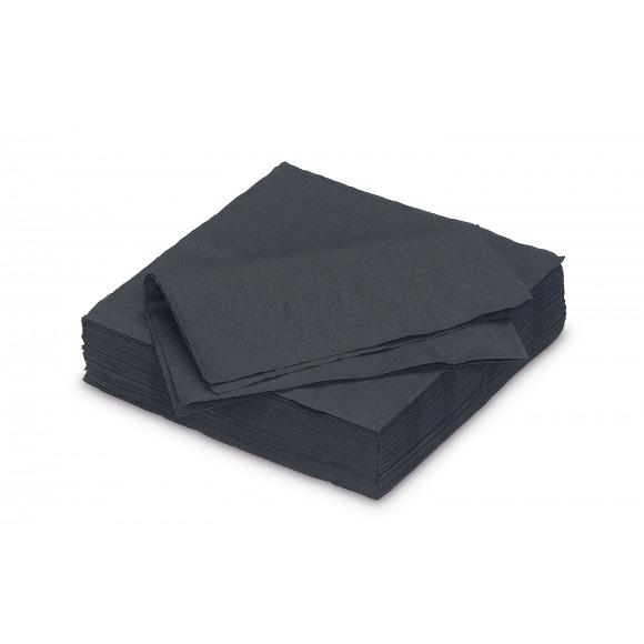 FIESTA Serviette Dîner Black Uni En Papier 40x40cm 50 Pièces Noir/gris