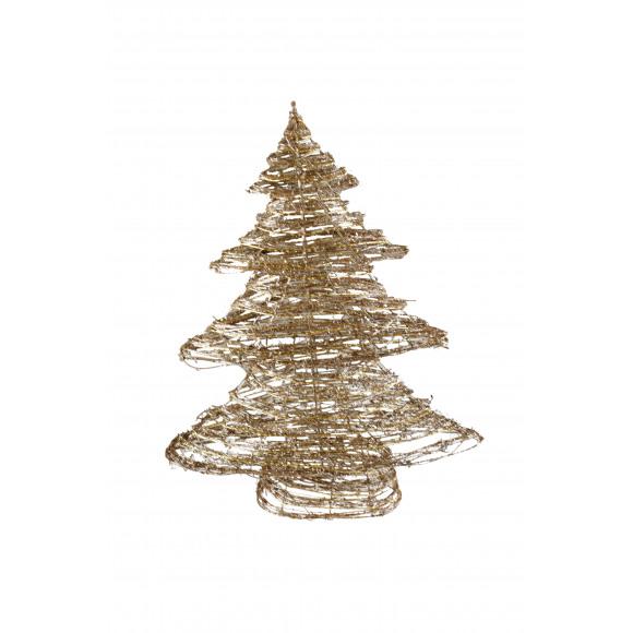 AVA selection Kerstboom Rotan + 35 Leds 60cm Champagne Glitter Goud 3xAA-Batterij Niet Inbegrepen Andere