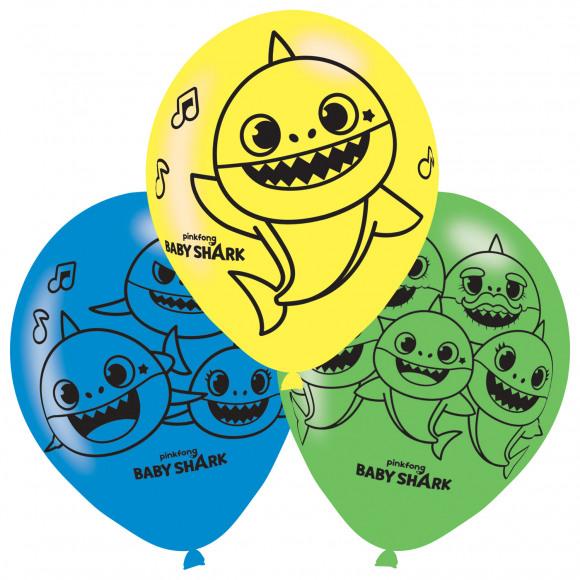 AVA selection Ballon Latex Baby Shark Ø 27,5cm 6 Stuks