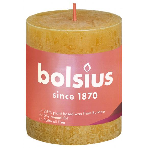 BOLSIUS Cilinderkaars Rustiek Geel H 8cm Ø 6,8cm 30u Geel