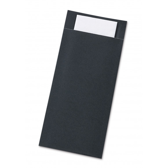 AVA Pochettes À Couverts Noires Avec Serviette Blanche 50 Pièces