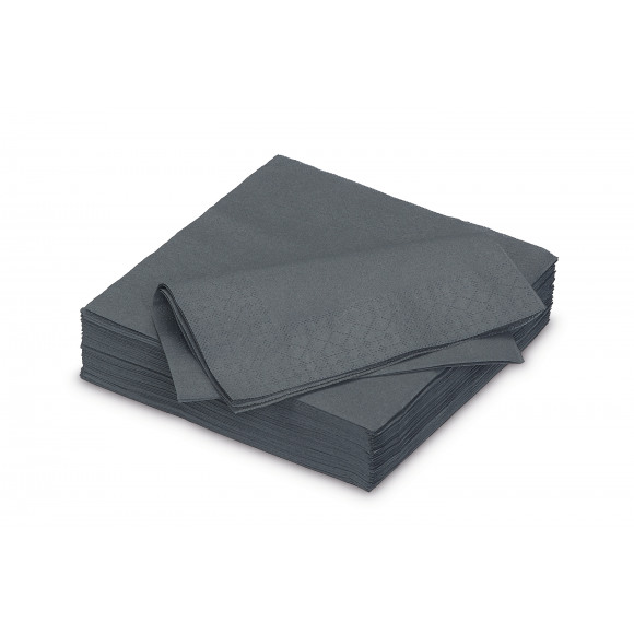 FIESTA Serviette Dîner Stone Grey Uni En Papier 40x40cm 50 Pièces Noir/gris