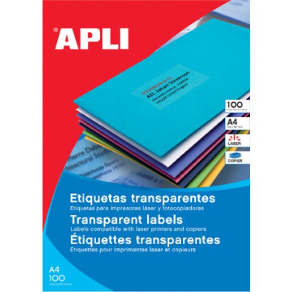 APLI Etiquettes Transparentes L/C 20 Feuilles A4