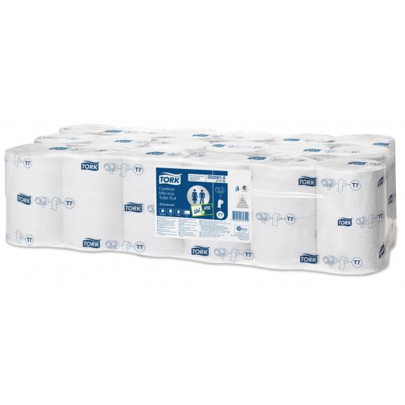 TORK Papier Toilette Mid-Size Sans Mandrin 2 Plis Blanc 36 Rouleaux 472199 T7 Blanc