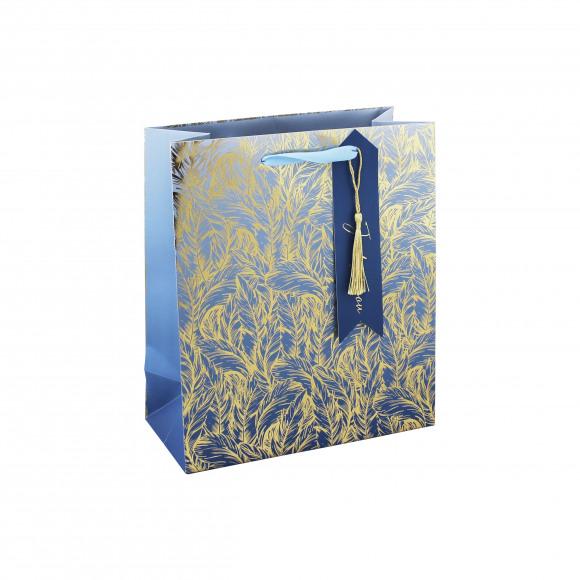 CLAIREFONTAINE Everyday Sachet Cadeau Bleu Plumes Dorées 21,5x10,2x25cm Bleu
