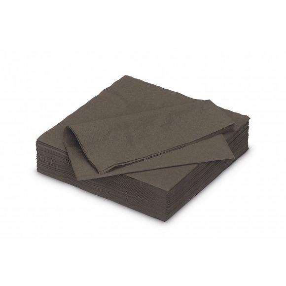 FIESTA Serviette Dîner Cacao Uni En Papier 40x40cm 50 Pièces Brun