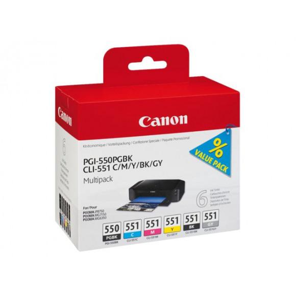 CANON Cartouche PGI-550/CLI-551 Noire + 5 Couleurs