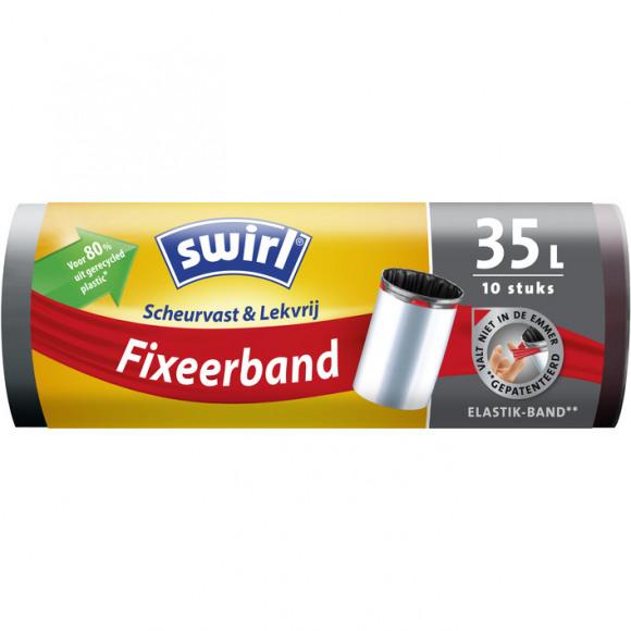 SWIRL Pedaalemmerzak Met Fixeerband 35L 10 Stuks Zwart/Grijs