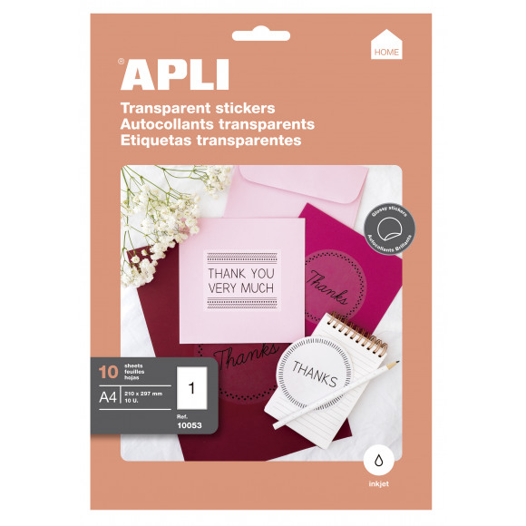 APLI Stickervel Transparant A4 Inkjet Glossy 10 Vellen Andere