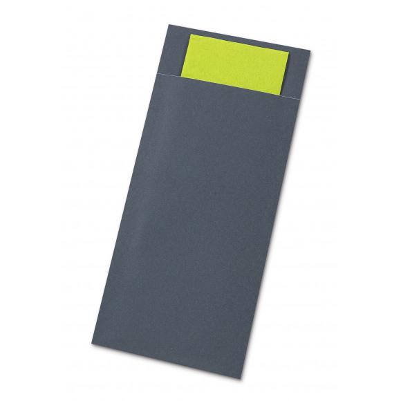 AVA Pochettes À Couverts Stone Grey Avec Serviette Lime Green 50 Pièces