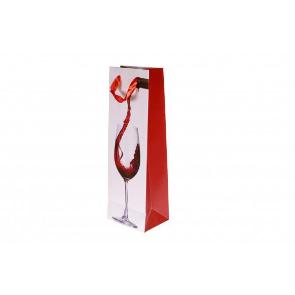 AVA selection Sachet Cadeau Pour Bouteille Vin Rouge 12x9x36cm