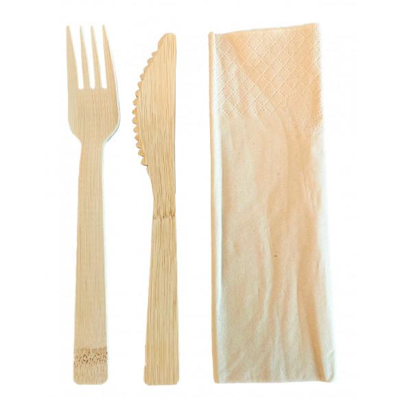 AVA selection Bestekset Bamboe Mes + Vork + Servet 50 Stuks