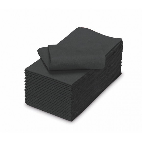TABLESTAR serviette dîner uni sensation de lin rectangulaire 50 pièces Noir/gris