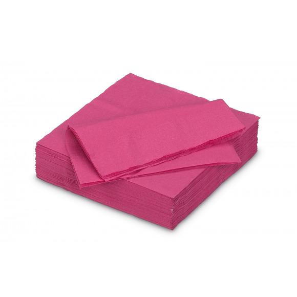 FIESTA Serviette Cocktail Framboise Uni En Papier 25x25cm 50 Pièces Violet/rose