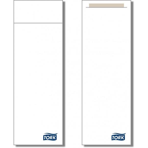 TORK Bestekzakje Sluitbaar Wit Met Servet Naturel 2-Laags 25x8,5cm 600 Stuks Wit