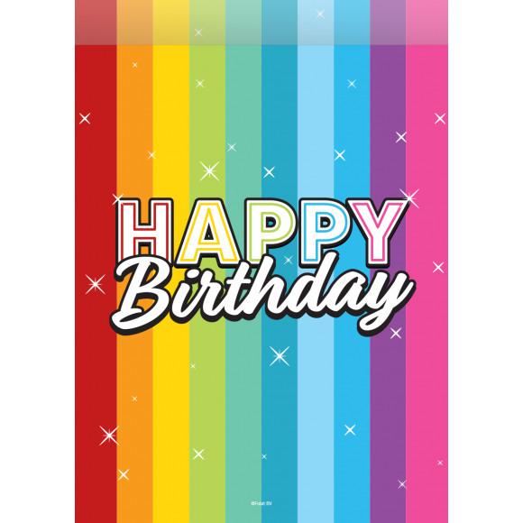 AVA selection Verjaardagszakjes Rainbow Birthday 23x16,5cm 8 Stuks