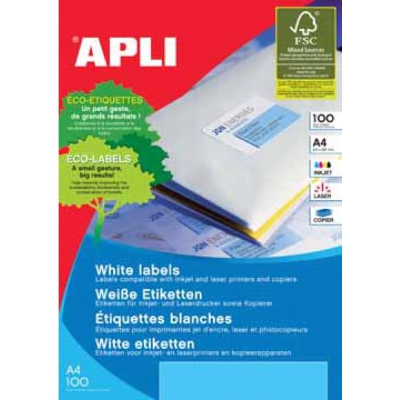 APLI Etiquettes 63,5x38,1mm I/L/C Blanc 100 Feuilles A4 2100 Pièces Blanc