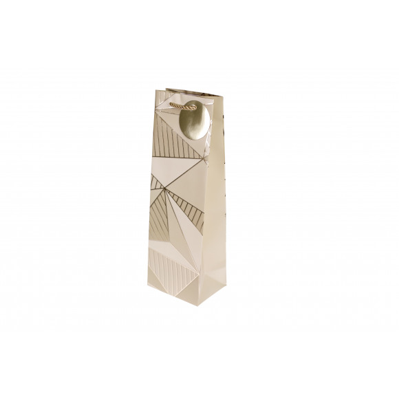 AVA selection Sachet Cadeau Pour Bouteille Blanc-Or 12x9x36cm