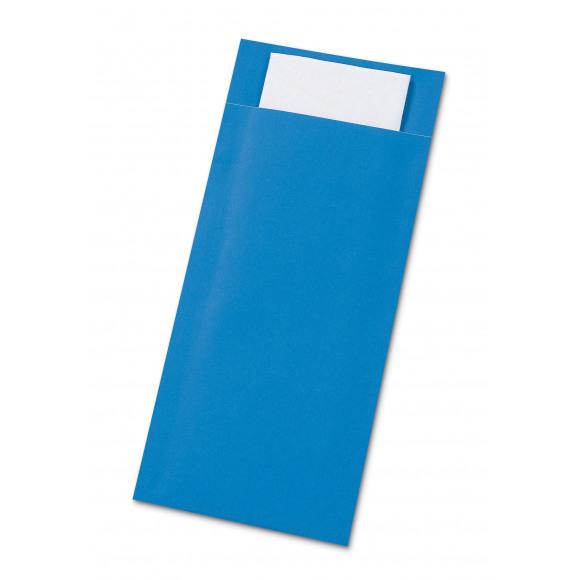 AVA Pochettes À Couverts Turquoise Avec Serviette Blanc 50 Pièces