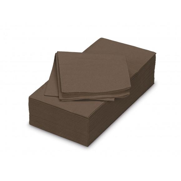 FIESTA Serviette Déjeuner Cacao Uni En Papier Rectangulaire 50 Pièces Brun